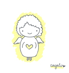 Sketch with cute angel vector image