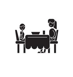 Son and mom having dinner black concept vector