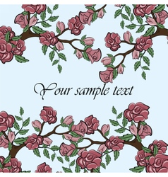 Sprig of Rose flower bush frame vector