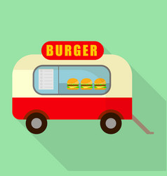 Street burger truck shop icon flat style vector
