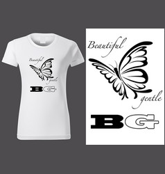 T-shirt design with abstract butterfly vector