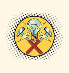 the symbol of light and hammers home repairs vector image