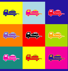 Tow car evacuation sign pop-art style vector