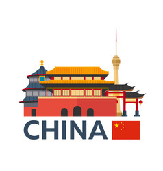 travel to china beijing skyline vector image