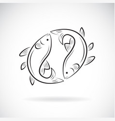two fish design on white background aquatic vector image