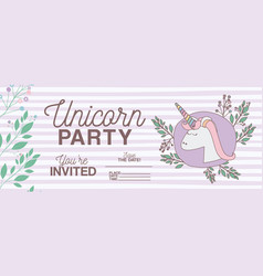 Unicorn party invitation card with floral vector