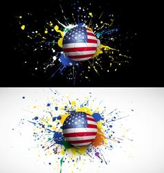 Usa flag with soccer ball dash on colorful vector