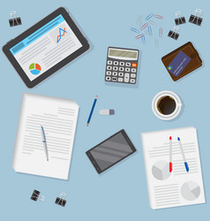 View of office desk including tablet smartphone vector