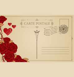 vintage postcard with red hearts and roses vector image