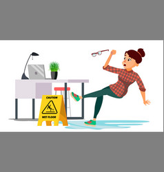 Woman slips on wet floor caution sign vector