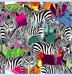 zebra black and white pattern painting background vector image