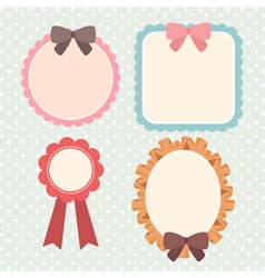 cute pastel ribbon and lace label or banner or vector image