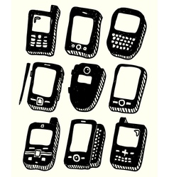 Doodle style mobile phones set vector image vector image