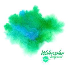 green abstract hand drawn watercolor vector image