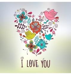 Lovely frame Floral design Heart shape Wedding vector image vector image