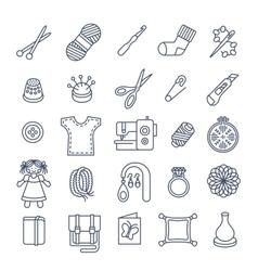 Handmade hobby activities flat thin line icons vector image vector image