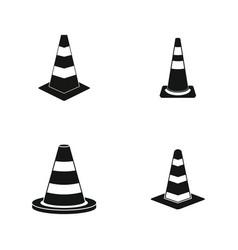 road cone icon set simple style vector image