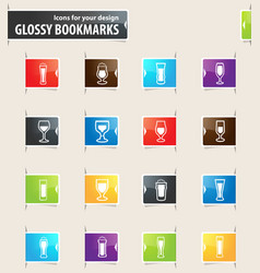 glasses and cups bookmark icons vector image vector image