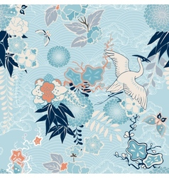 Kimono background with crane and flowers vector image