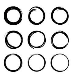 round shape frame set grunge stamps doodle line vector image vector image