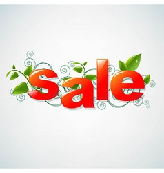 Sale Poster With Green Leaves vector image vector image