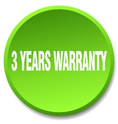3 years warranty green round flat isolated push vector image vector image