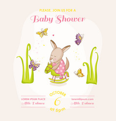 baby girl kangaroo on a horse - baby shower vector image