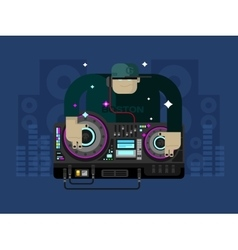 DJ character music vector image