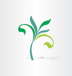 green eco tree floral plant icon vector image vector image