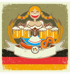 Vintage oktoberfest poster label with girl and vector image vector image
