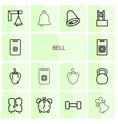 14 bell icons vector