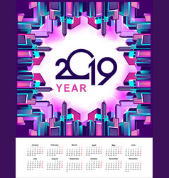 2019 year calendar city vector