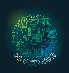 31 october holiday round colorful line vector image