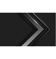 Abstract silver arrow direction in dark grey vector