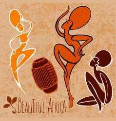 African woman - dancing with drum stylize vector