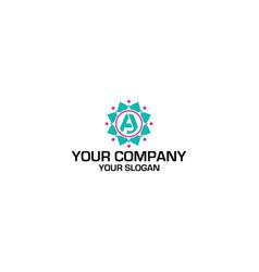Aj flower logo design vector