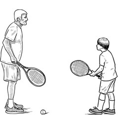 an elderly man playing tennis with his grandson vector image