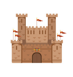 Ancient castle with red flags medieval vector