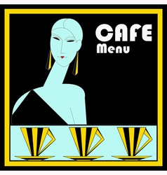 Art deco cafe menu template vector