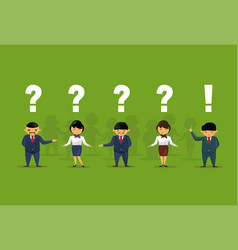 asian business people with question and vector image