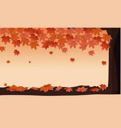 autumn forest with falling maple tree orange vector image