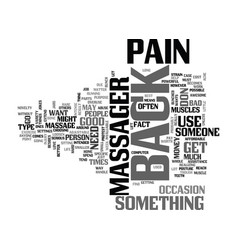 back massager text word cloud concept vector image