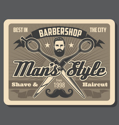 Barbershop scissors man with beard and mustache vector