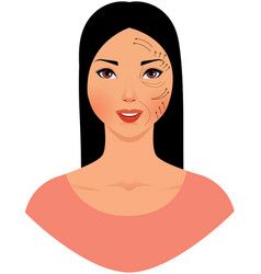 beautiful asian woman with marks drawn on her vector image