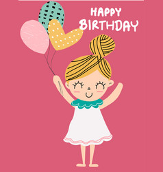 Birthday card a cute girl holding balloon vector