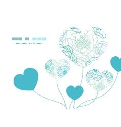 Blue line art flowers heart symbol frame vector
