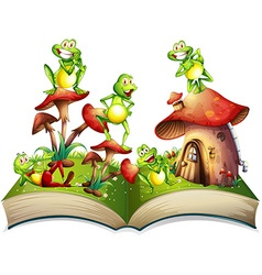Book with many frogs smiling vector