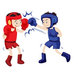 Boxers in blue and red outfits vector image