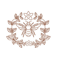 Bumblebee coffee flower leaves icon vector
