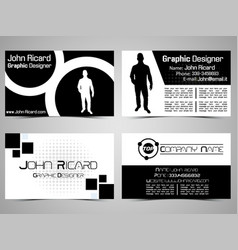 business card abstract creative set 8 vector image